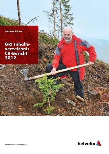 GRI Inhaltsverzeichnis CR-Bericht 2012 - Helvetia Gruppe