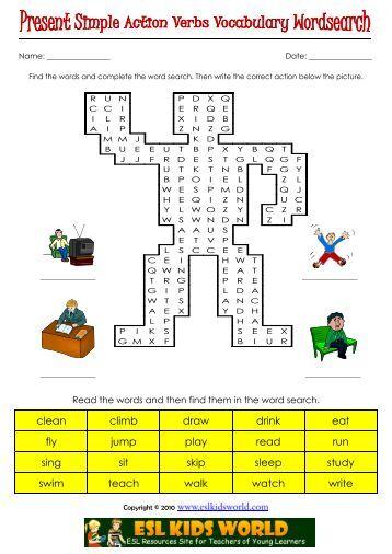 Esl Word Search Verbs - Www imagez co