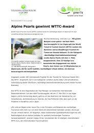 Alpine Pearls gewinnt WTTC-Award   05/2011