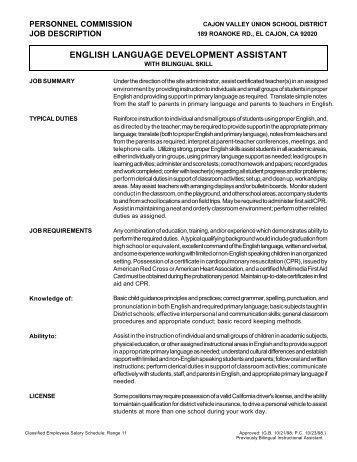 english language development assistant - Cajon Valley Union ...