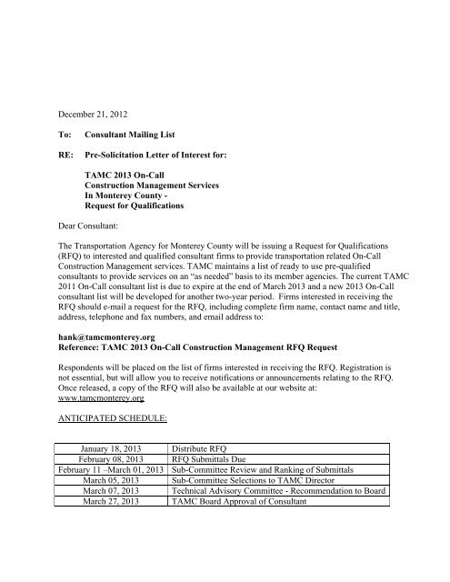 Pre-Solicitation Letter of Interest for - Transportation