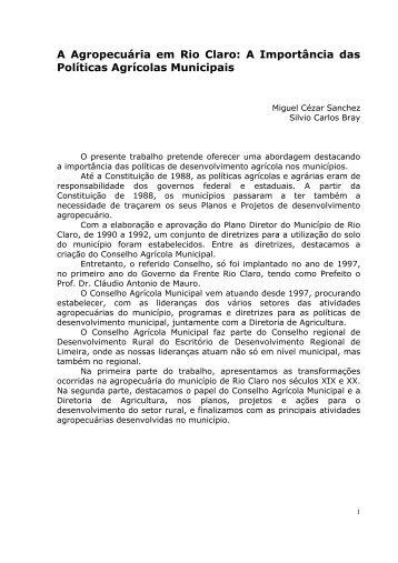 A agropecuária em Rio Claro - Claudio Di Mauro