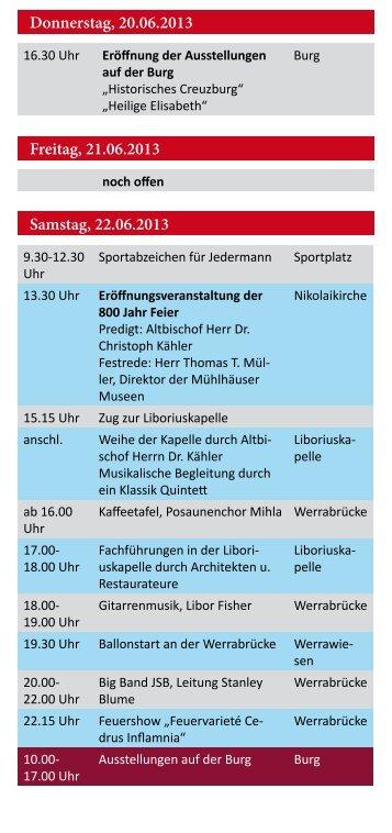Samstag, 22.06.2013 Donnerstag, 20.06.2013 Freitag ... - Werratal