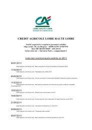 Liste des publications 2011 - Crédit Agricole Loire Haute Loire