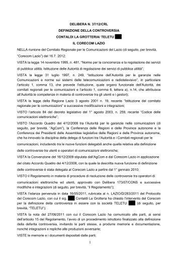 Delibera 37/12/CRL - Corecom Lazio