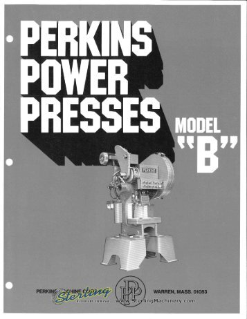 Perkins Power Presses Model B Brochure - Sterling Machinery