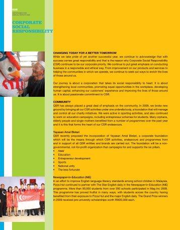 CORPORATE SOCIAL RESPONSIBILITy - QSR Brands Bhd.