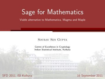 Sage for Mathematics - Indian Statistical Institute