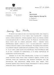 Pan Marek Sawicki Minister Rolnictwa i Rozwoju Wsi ul. Wspólna 30 ...