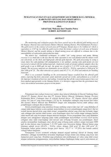 pemantauan dan evaluasi konservasi sumber daya mineral