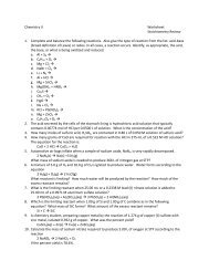 Chemistry II Worksheet Stoichiometry Review 1. Complete and ...