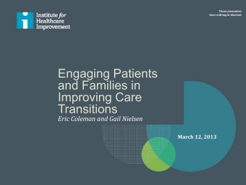 Engaging Patients and Families in Improving Care Transitions