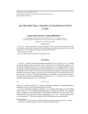 ON THE SPECTRAL THEORY OF MANIFOLDS WITH CUSPS