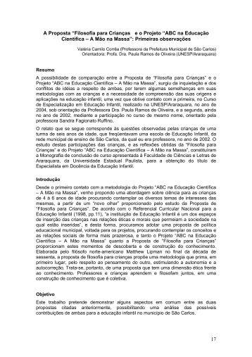 """17 A Proposta """"Filosofia para Crianças e o Projeto ... - CDCC - USP"""