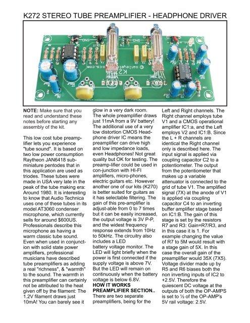 Oatley Electronics K282 Tube Stereo Riaa Preamp Kit Schematic