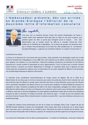Lettre d'information consulaire d'avril 2011