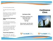 Continence Clinic Brochure - Physician