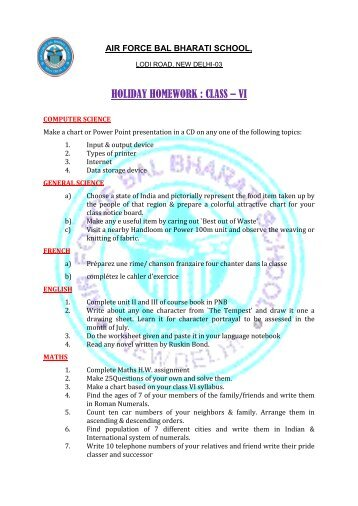 HOLIDAY HOMEWORK : CLASS – VI - Air Force Bal Bharati School