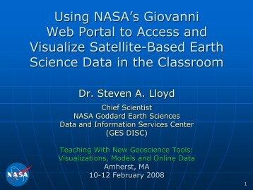 Using NASA's Giovanni Web Portal to Access and Visualize Satellite ...