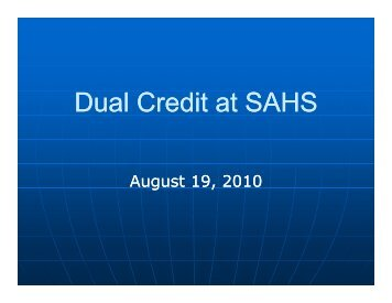 Dual Enrollment/Dual Credit Courses Presentation