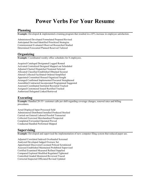 Power Verbs For Your Resume