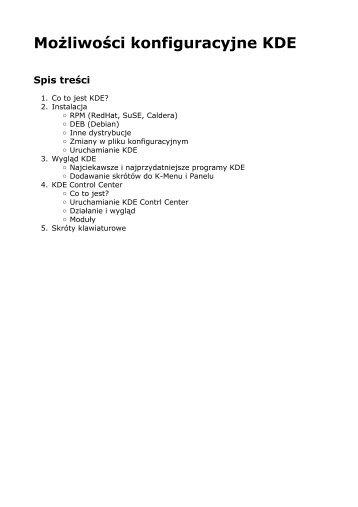 Możliwości konfiguracyjne KDE