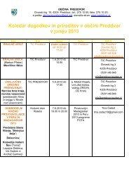 Koledar dogodkov in prireditev v občini Preddvor v juniju 2013