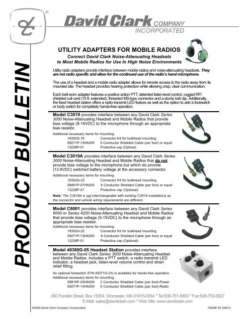 utility adapters for mobile radios - radio communications ... on