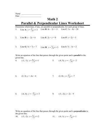 Writing equations of parallel and perpendicular lines worksheet answer key