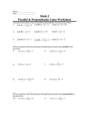 Printables Parallel And Perpendicular Slopes Worksheet parallel and perpendicular slopes worksheet davezan