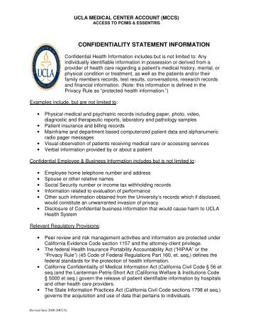Confidentiality Statement Information   Medical Student Resources .