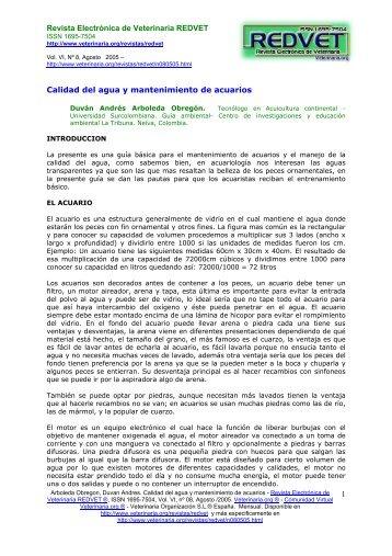 Calidad del agua y mantenimiento de acuarios - Veterinaria.org
