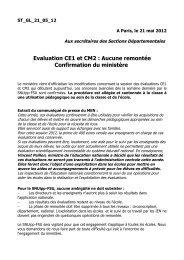 Evaluation CE1 et CM2 : Aucune remontée Confirmation du ministère