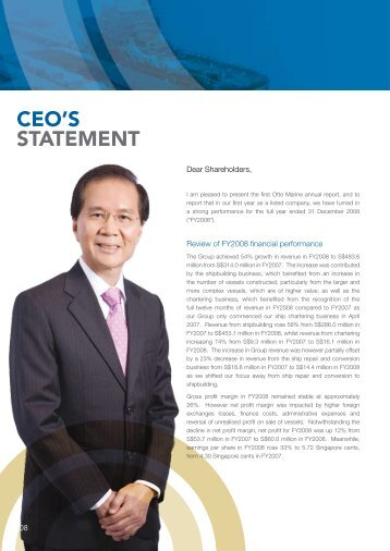 CEO'S STATEMENT - Otto Marine Limited