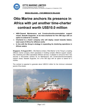 Attachment 1 - Otto Marine Limited