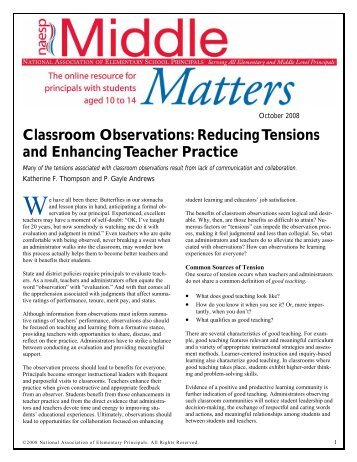 Classroom Observations - National Association of Elementary ...