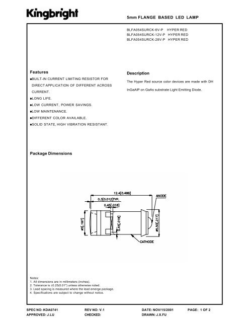 5mm FLANGE BASED LED LAMP Features Package Dimensions ...