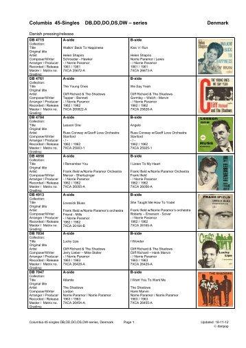 Columbia label DB,DD,DO,DS,DW series 45 singles ... - danpop.dk