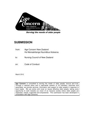 Draft Code of Conduct for nurses - Age Concern New Zealand
