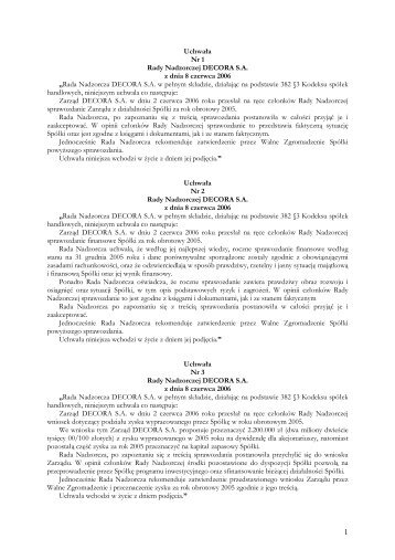 Sprawozdania Rady Nadzorczej DECORA S.A. za rok 2005