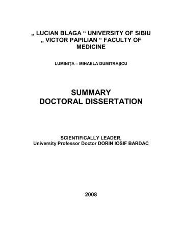 Doctoral dissertation summary