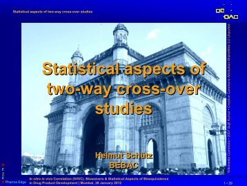 Statistical aspects of two-way cross-over studies - BEBAC ...