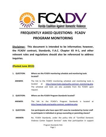 Program FAQ - Florida Coalition Against Domestic Violence