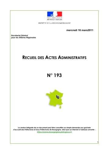 RAA 193 - Préfecture de la Côte-d'Or