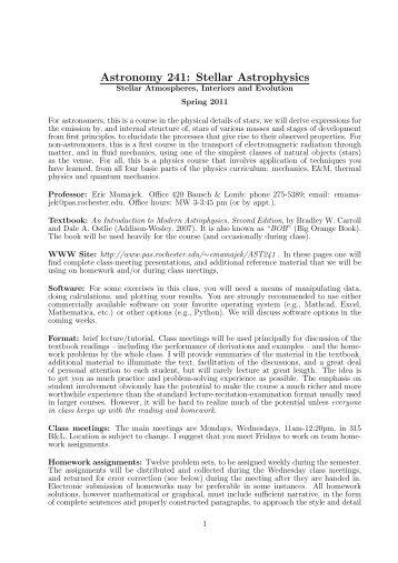 Astronomy 241: Stellar Astrophysics - Physics and Astronomy
