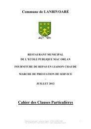 Cahier des Clauses Particulières - Commune de Lanrivoaré