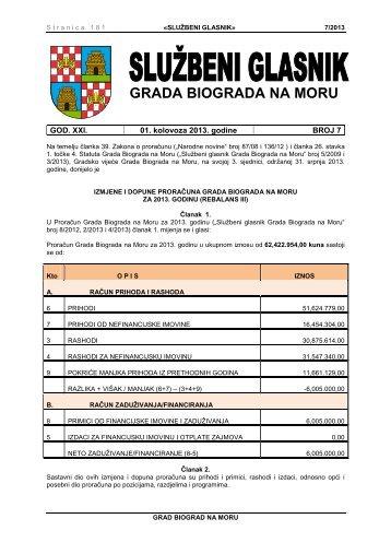 Službeni glasnik Grada Biograda na Moru - broj 7/13 - Grad Biograd ...