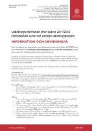 Utbildningsinformation inför läsåret 2014/2015 Internationella kurser ...
