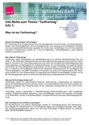 """Info-Reihe zum Thema """"Tarifvertrag"""" Info 3 - Personalrat"""
