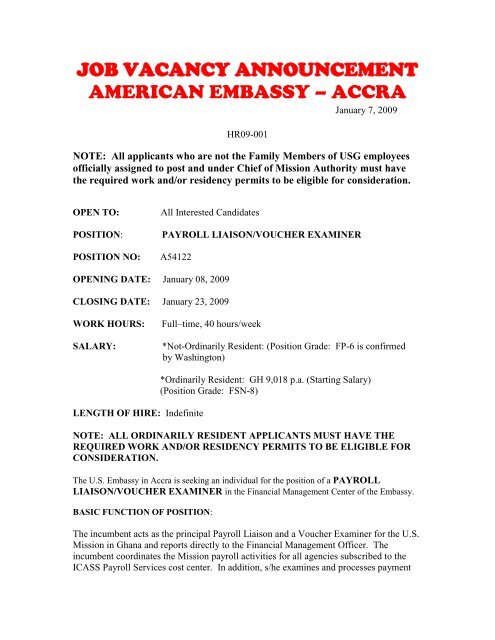 job vacancy announcement - Embassy of the United States ...